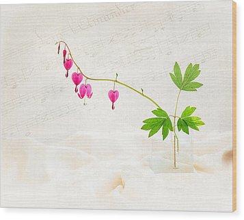 Hearts And Music Wood Print by Sarah-fiona  Helme