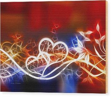 Hearts Wood Print by Ann Croon