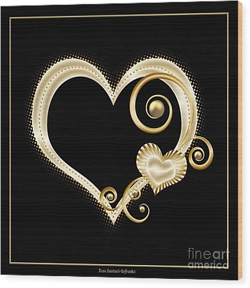 Hearts In Gold And Ivory On Black Wood Print by Rose Santuci-Sofranko