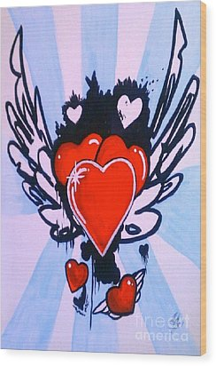 Wood Print featuring the painting Hearts by Marisela Mungia