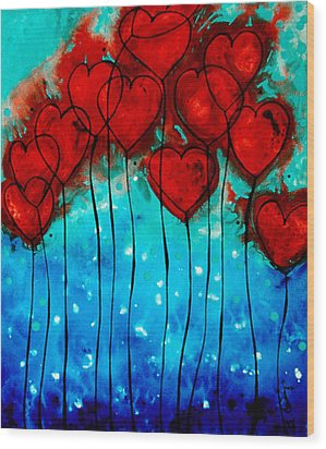 Hearts On Fire - Romantic Art By Sharon Cummings Wood Print by Sharon Cummings