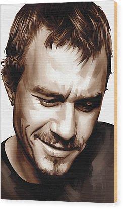 Heath Ledger Artwork Wood Print by Sheraz A