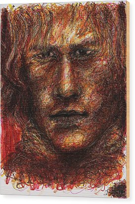 Heath Ledger - Red Wood Print by Rachel Scott