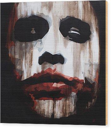 Heath Ledger Why So Serious Wood Print by Brad Jensen