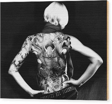 Heather The Tatooed Lady Wood Print by Robert  FERD Frank