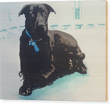Wood Print featuring the painting Heathers Dog by Cherise Foster