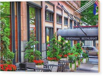 Heathman Restaurant 17368 Wood Print by Jerry Sodorff