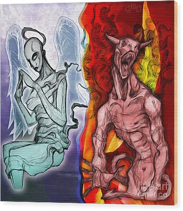 Heaven And Hell - New School Tattoo Art Wood Print by Gregory Dyer