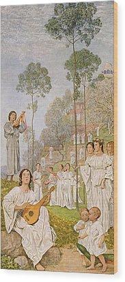 Heaven Wood Print by Hans Thoma