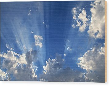 Heavenly Light Wood Print