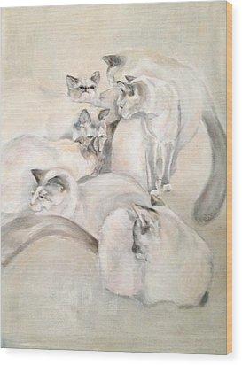 Heavenly Puffs Wood Print by Janet Felts