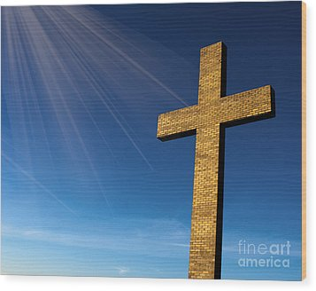 Wood Print featuring the photograph Heaven's Cross by Michael Waters