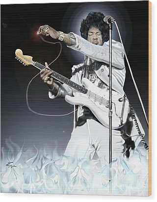 Heavens Fire - The Jimi Hendrix Series  Wood Print by Reggie Duffie