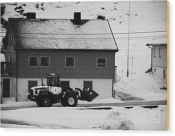 Heavy Duty Loader Carrying Grit And Stones For Winter Road Preparation Havoysund Finnmark Norway  Wood Print by Joe Fox