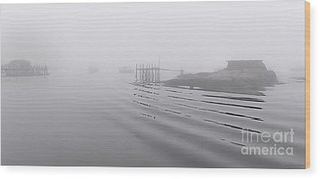 Heavy Fog And Gentle Ripples Wood Print by Marty Saccone