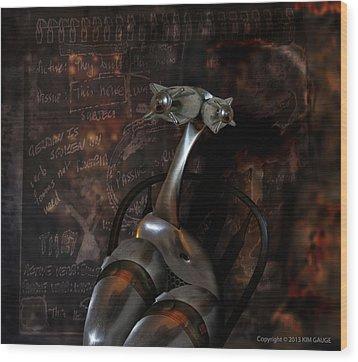 Wood Print featuring the digital art Heavy Metal Girl by Kim Gauge