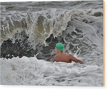 Heavy Surf - Lifeguard Competition Wood Print by Kim Bemis