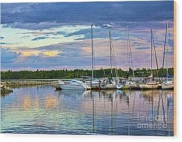 Wood Print featuring the photograph Hecla Island Boats II by Teresa Zieba