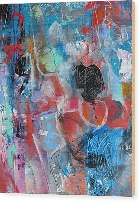 Wood Print featuring the painting Hectic by Katie Black