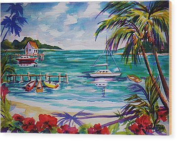 Heeia Bay Pier On Oahu Wood Print by Therese Fowler-Bailey