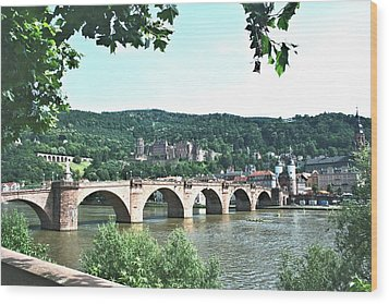 Heidelberg Schloss Overlooking The Neckar Wood Print