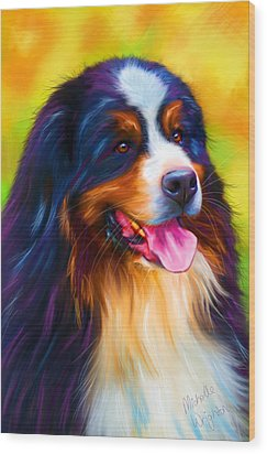 Colorful Bernese Mountain Dog Painting Wood Print by Michelle Wrighton