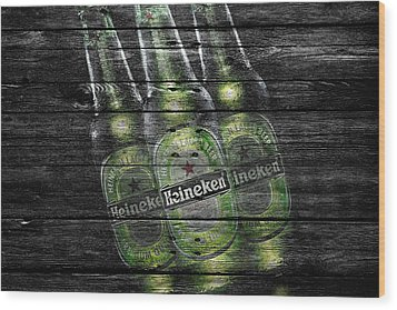 Heineken Bottles Wood Print by Joe Hamilton