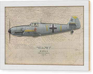 Heinz Ebeling Messerschmitt Bf-109 - Map Background Wood Print by Craig Tinder