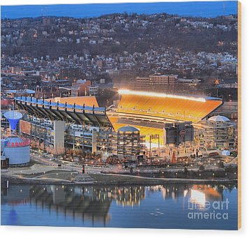 Heinz Field At Night Wood Print by Adam Jewell