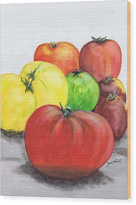 Heirloom Tomatoes Wood Print by June Holwell