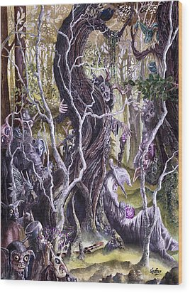 Wood Print featuring the painting Heist Of The Wizard's Staff 2 by Curtiss Shaffer