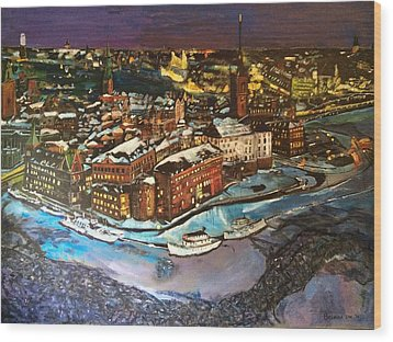 Hej Stockholm Wood Print by Belinda Low