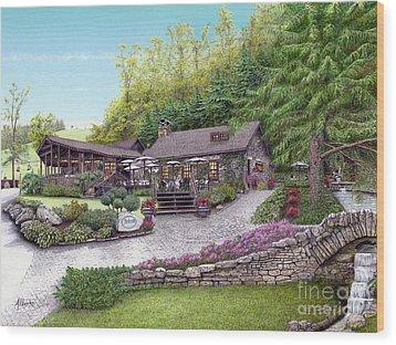Helen's Restaurant At Seven Springs Wood Print by Albert Puskaric