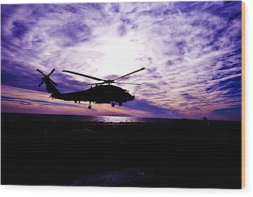 Helicopter Silhouette At Sunset Wood Print by Mountain Dreams