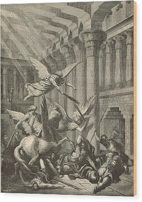 Heliodorus Punished In The Temple Wood Print by Antique Engravings