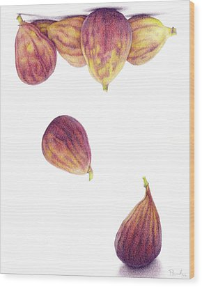 Helium Figs Wood Print by Paula Pertile