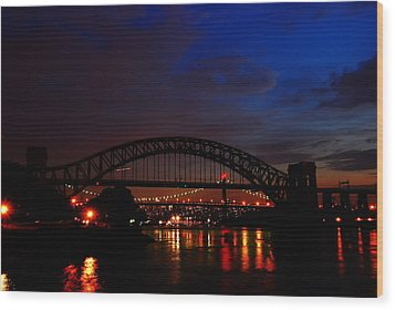 Hell Gate At Night Wood Print