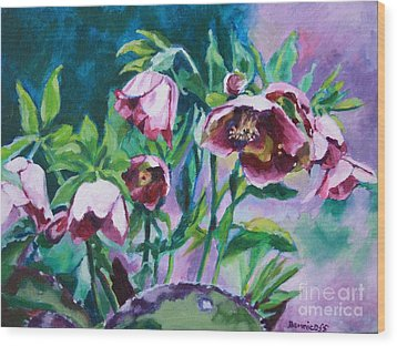 Hellebore Flowers Wood Print by Jan Bennicoff