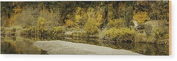 Hello Autumn Panorama Wood Print by Diane Schuster