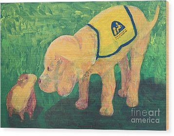 Wood Print featuring the painting Hello - Cci Puppy Series by Donald J Ryker III