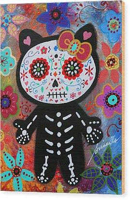 Hello Kitty Dia De Los Muertos Wood Print