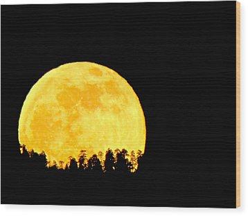 Hello Moon Wood Print by Feva  Fotos