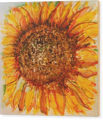 Hello Sunflower Wood Print