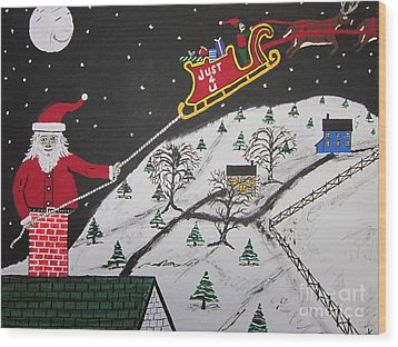 Help Santa's Stuck Wood Print by Jeffrey Koss