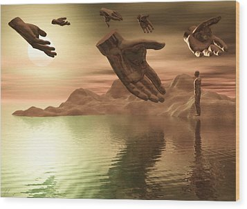 Wood Print featuring the digital art Helping Hands by John Alexander