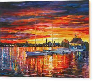 Helsinki Sailboats At Yacht Club Wood Print by Leonid Afremov