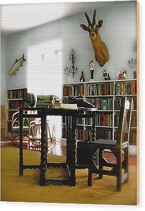 Hemingway's Studio II  Ernest Hemingway Wood Print by Iconic Images Art Gallery David Pucciarelli