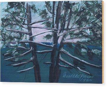Hemlocks Snowy Morning Wood Print by Bernadette Kazmarski