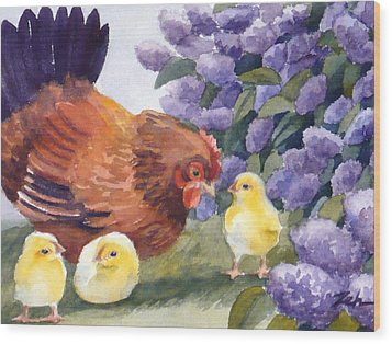 Hen And Chicks Chicken Art Wood Print