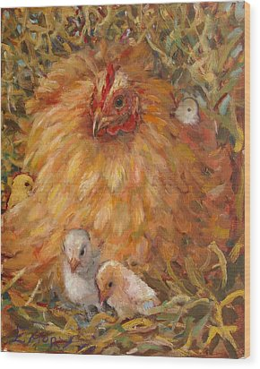 Hen And Chicks Wood Print